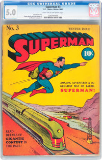 Superman #3 (DC, 1940) CGC VG/FN 5.0 Light tan to off-white pages