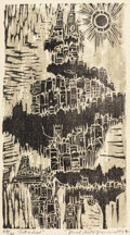 Fine Art - Work on Paper:Print, Mel Silverman (American, 1931-1966). Citadel, 1962. Woodcut in colors on paper. 18 x 9-3/4 inches (45.7 x 24.8 cm) (imag...