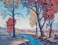 Prints, F. Leslie Thompson (American, 1889-1965). October in the Midwest, 1963. Aquatint in colors on paper. 9-3/4 x 12-7/8 inch...