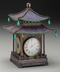 Asian:Chinese, A Chinese Enameled Silver, Turquoise and Jade Pagoda-Form Clock,early 20th century. Marks: SILVER, MADE IN CHINA. 8 inc...