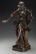 Sculpture, After Albert-Ernest Carrier-Belleuse . Melodie. Bronze with brown patina. 25 inches (63.5 cm). Inscribed on base: Carr...