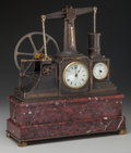Clocks & Mechanical:Clocks, A French Model Beam Engine Patinated Bronze and Marble Mechanical Clock Barometer, circa 1900. Barometer marked: MADE IN F...