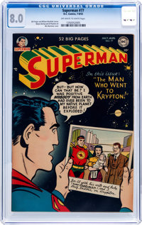 Superman #77 (DC, 1952) CGC VF 8.0 Off-white to white pages