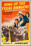 """Movie Posters:Serial, King of the Texas Rangers (Republic, 1941). One Sheet (27"""" X 41"""") Chapter 9 -- """"Ambush!"""" Serial.. ..."""