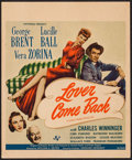 "Movie Posters:Comedy, Lover Come Back (Universal, 1946). Trimmed Window Card (14"" X 17""). Comedy.. ..."