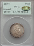 Coins of Hawaii , 1883 25C Hawaii Quarter MS63 PCGS. Gold CAC. PCGS Population(310/628). NGC Census: (192/503). Mintage: 242,600. ...