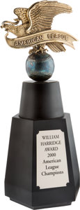 "Baseball Collectibles:Others, 2000 New York Yankees ""William Harridge Award"" American LeagueChampionship Trophy...."