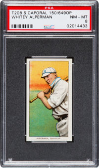 1909-11 T206 Sweet Caporal Whitey Alperman, Factory 649 Overprint PSA NM-MT 8 - Highest Confirmed Example!