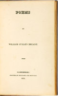 Books:Literature Pre-1900, William Cullen Bryant. Poems. Cambridge: Printed by Hilliardand Metcalf, 1821....