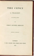 Books:Literature Pre-1900, Percy Bysshe Shelley. The Cenci: A Tragedy in Five Acts.London: C and J Ollier, 1821....