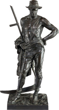 After Hamo Thornycroft (British, 1850-1925) Reaper Bronze with brown patina 22-1/2 inches (57.2 c