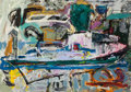 Fine Art - Painting, American:Contemporary   (1950 to present)  , Chuck Dugan (American, 20th Century). Two Views of the Ship,1986. Oil on paper. 37 x 52 inches (94 x 132.1 cm). ...