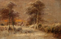 Fine Art - Painting, European:Modern  (1900 1949)  , James Hey Davies (British, 1844-1930). Snow-Covered Path, 1905. Oil on canvas. 14 x 21 inches (35.6 x 53.3 cm). Signed a...
