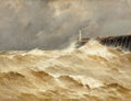 Fine Art - Painting, European:Antique  (Pre 1900), Emile Maillard (French, 1846-1926). Lighthouse in the Storm.Oil on canvas. 19-3/4 x 25-3/4 inches (50.2 x 65.4 cm). Sig...