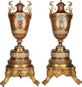 Ceramics & Porcelain, American:Antique  (Pre 1900), A Monumental Pair of Royal Vienna-Style Painted and Partial Gilt Porcelain Urns on Stands, late 19th century. 43-1/2 inches ... (Total: 6 Items)