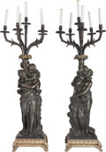 Decorative Arts, French:Lamps & Lighting, A Pair of Large French Gilt and Patinated Bronze Six-LightCandelabra After Clodion, first half 20th century. Marks:Clodi... (Total: 2 Items)