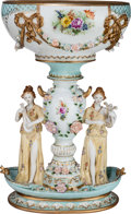 Ceramics & Porcelain, Continental:Modern  (1900 1949)  , A Large Dresden-Style Painted and Partial Gilt Porcelain Figural Centerpiece, 20th century. Marks: (crossed swords in blue u...