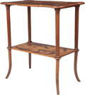 Furniture : French, An Emile Gallé Marquetry Two-Tier Side Table, Nancy, France, circa1900. Marks: Gallé. 30-1/8 inches high x 28 inches wi...