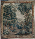 Decorative Arts, Continental:Other , A Large French Verdure au Ville Aubusson-Style Tapestry, mostly18th century. 130 inches high x 129-1/2 inches wide (330.2 x...
