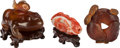 Asian:Chinese, Three Chinese Hardstone Carvings. 2 inches high (5.1 cm) (toadbox). PROPERTY FROM THE COLLECTION OF DR. SIDNEY AND MR. GE...(Total: 3 Items)