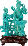 Asian:Chinese, A Chinese Carved Turquoise Figural Group of a Court Lady withAttendant on Stand. 3-3/4 inches high (9.5 cm) (without stand)...