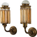 Art Glass:Tiffany , A Pair of Gilt Metal Sconces with Tiffany Studios Gold FavrileGlass Prisms, Corona, New York, circa 1905. Marks to fixture:...(Total: 2 Items)