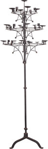 Decorative Arts, American, An American Wrought Iron Floor Candelabra after Samuel Yellin, designed 1920. 81 inches high (205.7 cm). ...