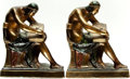Books:Furniture & Accessories, [Bookends]. Pair of Matching Bronze Bookends Depicting RomanScribe. Pompeiian Bronze Co., [n.d., Circa 1922].... (Total: 2Items)