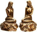 Books:Furniture & Accessories, [Bookends]. Pair of Matching Brass Mermaid Bookends. San Pacific International, undated.... (Total: 2 Items)