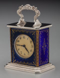 Silver Smalls:Other , A Miniature Swiss Silver-Plated and Enameled Carriage Clock, early20th century. Marks: BREVET (cross). 1-5/8 inches hig...