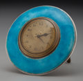 Silver Smalls:Other , An Adie Brothers Silver, Brass and Enameled Desk Clock, Birmingham,England, circa 1926. Marks: (Adie Bros logotype), (ancho...