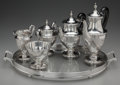 Silver & Vertu:Hollowware, A Five-Piece Tiffany & Co. Silver Tea and Coffee Service with Silver-Plated Tray, New York, New York, circa 1943. Marks: T... (Total: 6 Items)