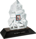 Hockey Collectibles:Others, 1980 Lake Placid Winter Olympics Glass Ice Display Presented to Dave Christian....