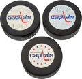 Hockey Collectibles:Equipment, 1983 and 1987 Ronald Reagan Used Pucks from Washington Capitals and U.S. Hockey Teams Visit to the White House (3) - Dave Chri...