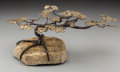Paintings, A C. Jeré (Jerry Fels and Curtis Freiler) Wrought Iron, Brass and Stone Bonsai Tree, 20th century. 9 inches high x 18 inches...