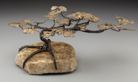 A C. Jeré (Jerry Fels and Curtis Freiler) Wrought Iron, Brass and Stone Bonsai Tree, 20th century 9 inches high x...