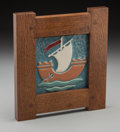 Ceramics & Porcelain, American:Modern  (1900 1949)  , A Framed Ceramic Sailboat Tile in the Manner of Wheatley Pottery, circa 1920. 6 inches high x 6 inches wide (15.2 x 15.2 cm)...