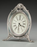 Silver Holloware, American:Clocks, A Reed and Barton Silver Clock with Waltham Mechanism, Taunton,Massachusetts. Marks: REED AND BARTON (eagle-R-lion),...