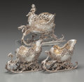 Silver Holloware, Continental:Holloware, A Georg Roth & Co. and Two Associated Silver Sleigh-Form Salts,Hanau, Germany, late 19th century. Marks to smaller sleigh: ...(Total: 3 Items)
