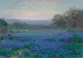 Texas:Early Texas Art - Impressionists, Julian Onderdonk (American, 1882-1922). A Blue Bonnet Field -Evening, 1921. Oil on canvas. 14 x 20 inches (35.6 x 50.8 ...