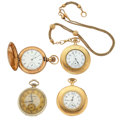 Timepieces:Pocket (post 1900), Waltham is 14k Gold, Hampden and Two Elgin's Are Gold Filed 12 Size Pocket Watches. ...