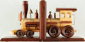 Books:Furniture & Accessories, [Bookends]. Set of Wooden Train Bookends. Unsigned, undated.... (Total: 2 Items)