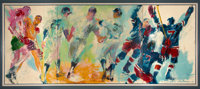 1969 Mickey Mantle Original Oil Painting by LeRoy Neiman featuring New York Sports - Massive Three-Panel Triptych