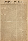 Books:Periodicals, [Newspapers]. Early Issue of The Boston Patriot, FeaturingRare Political Cartoon Entitled, Last Words and D...