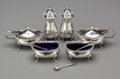 Silver Holloware, British:Holloware, A Cased Mappin and Webb English Silver and Cobalt Glass CondimentSet, Birmingham, England, circa 1936. Marks: (lion passant...