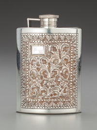 A Continental Silver Repoussé Flask Marks: SILVER 4-3/4 inches high x 3-1/4 inches wide (12.1 x 8.3
