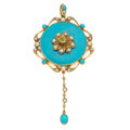 Estate Jewelry:Pendants and Lockets, Antique Turquoise, Half-Pearl, Peridot, Enamel, Gold Pendant. ...