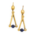 Estate Jewelry:Earrings, Antique Enamel, Gold Earrings. ...