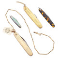 Timepieces:Other , Four Vintage Pen Knives & One Keystone Fob. ... (Total: 4 Items)