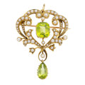 Estate Jewelry:Pendants and Lockets, Antique Peridot, Half-Pearl, Gold Pendant-Brooch. ...